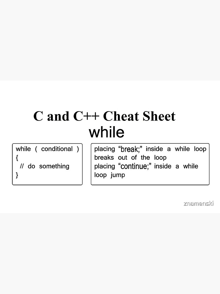 C and C++ Cheat Sheet: While by znamenski