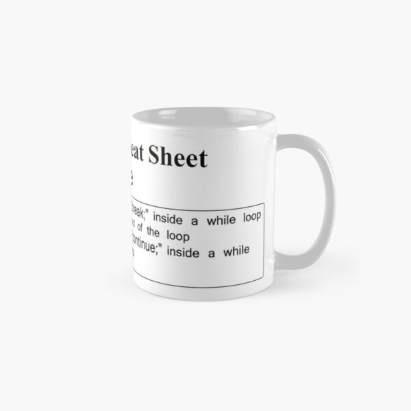 C and C++ Cheat Sheet: While Classic Mug