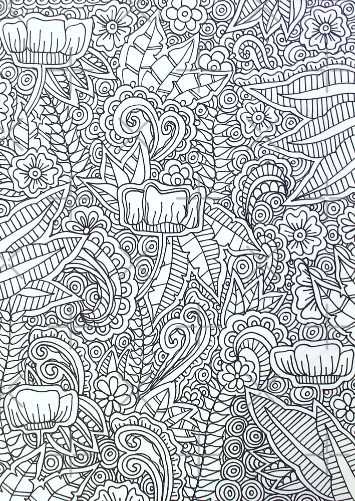 Black and White Floral Doodle by amorninggrouch