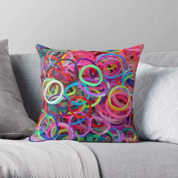 Colorful loom rubber bands Throw Pillow