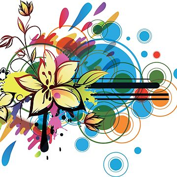 Vibrant Flower Abstract Design by HomeTimeArt