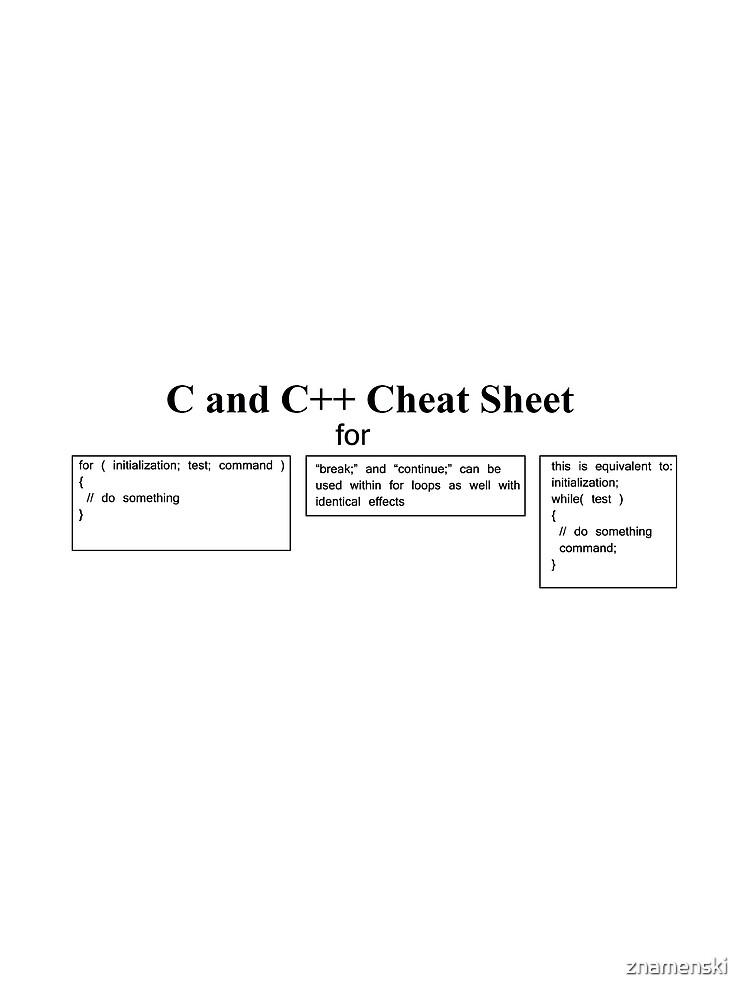 C and C++ Cheat Sheet: Loops, For, Break, Continue,  by znamenski