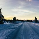 Panorama Shot of Sunset in Magical Scandinavian Winter Landscape by visualspectrum