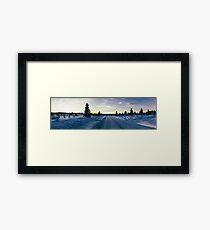 Panorama Shot of Sunset in Magical Scandinavian Winter Landscape Framed Print