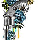 Gun and flowers with blue by Denys Golemenkov