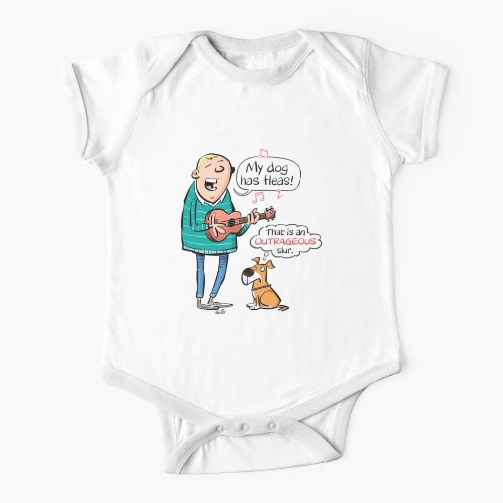 My Dog Has Fleas Ukulele Cartoon Baby One Piece By Timtoons Redbubble