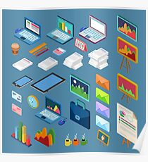 Isometric Office Objects. Business Elements Set. Isometric Interior Objects.  Poster