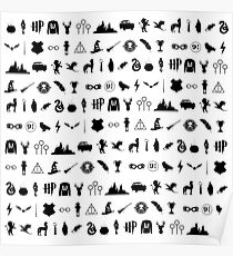 HP symbols - pattern / texture (black) - hallows, brooms, houses, always, wand, cloak - gift idea Poster