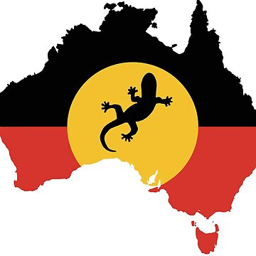 Australian Aboriginal Flag and Lizard - 1 by Taz-Clothing