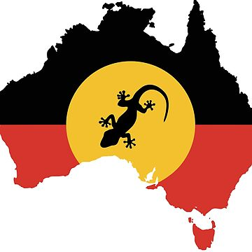 Australian Aboriginal Flag and Lizard - 2 by Taz-Clothing