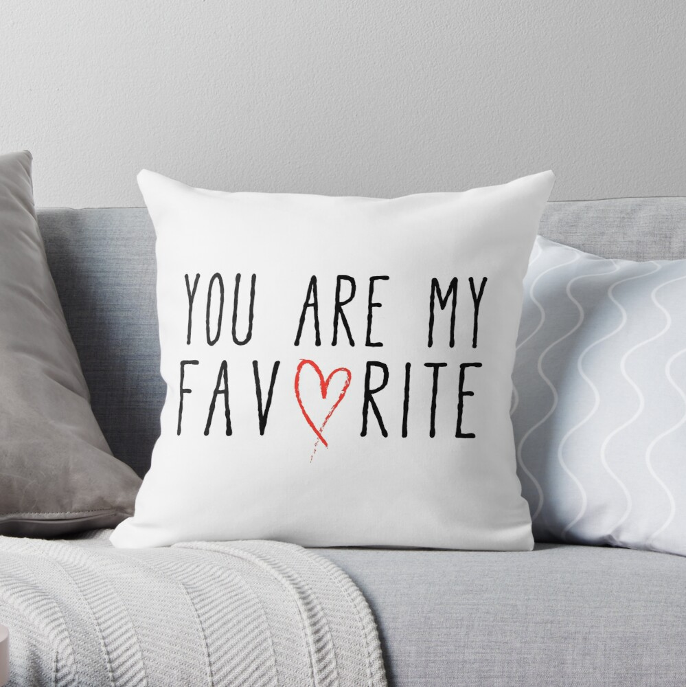 Eres mi diseño de texto favorito con corazón de garabato rojo Cojín