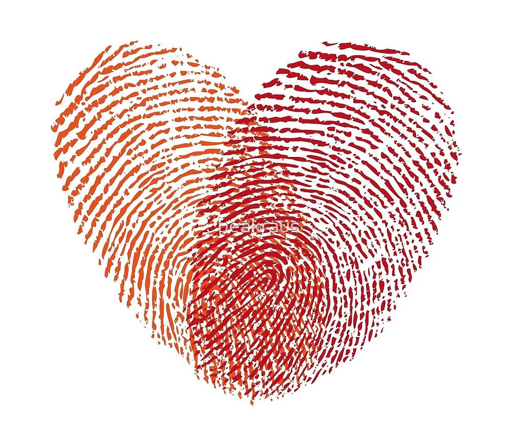Roter Fingerabdruck Herz Von Beakraus Redbubble