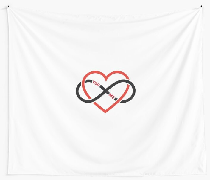 Never Ending Love Red Heart With Infinity Sign Wall Tapestries By