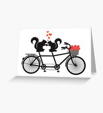 tandem bicycle with squirrels Greeting Card