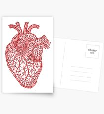 red human heart with geometric mesh pattern Postcards