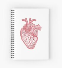 red human heart with geometric mesh pattern Spiral Notebook