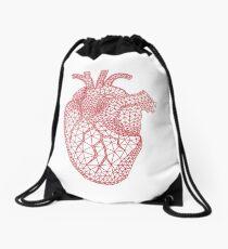 Rotes menschliches Herz mit geometrischem Maschenmuster Turnbeutel