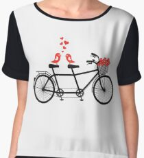 tandem bicycle with cute love birds Chiffon Top