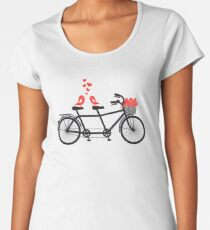 tandem bicycle with cute love birds Women's Premium T-Shirt