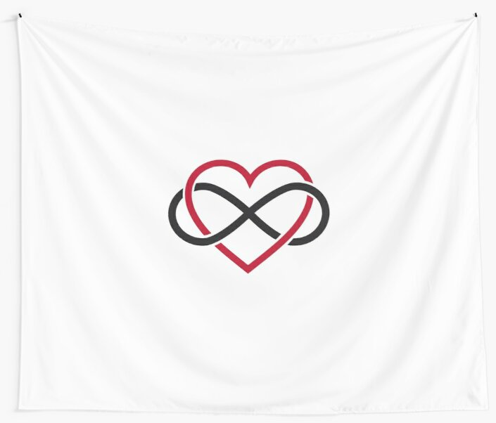 Infinity Heart Never Ending Love Wall Tapestries By Beakraus