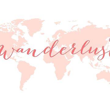 Wanderlust, desire to travel, world map by beakraus