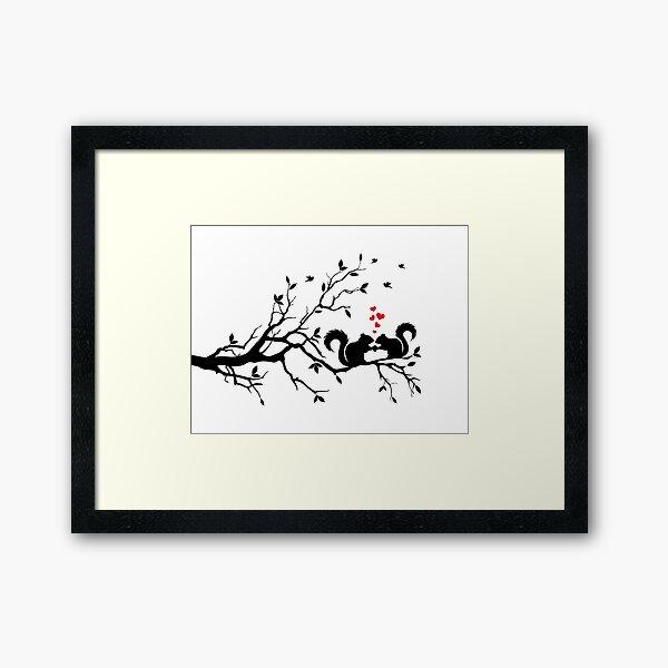 squirrels on tree branch  Framed Art Print