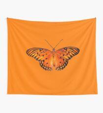 Gulf fritillary butterfly on orange background Tapestry