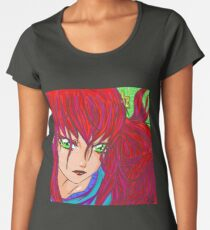 Red haired Green Eyed Lady Print By: MoonMonthStudio Women's Premium T-Shirt
