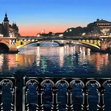 Original Painting: Pont d'Arcole, Paris, France. by MartinLome