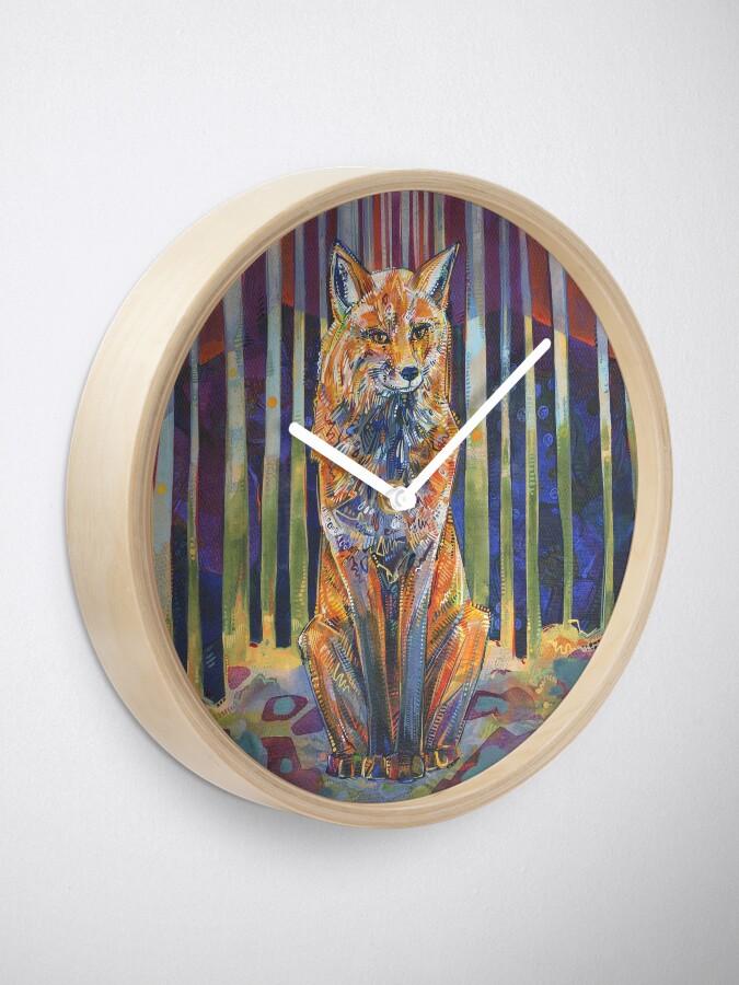 Alternate view of Red Fox Painting - 2018 Clock