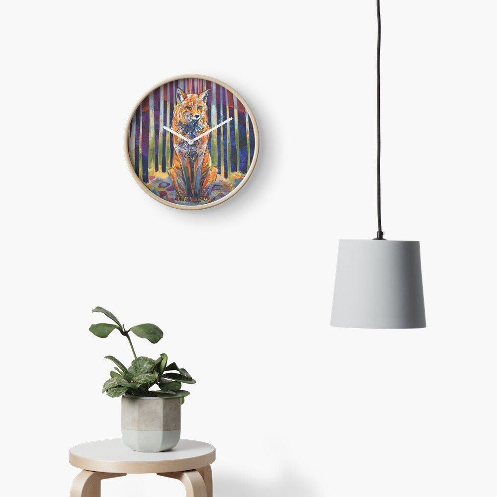 Red Fox Painting - 2018 Clock