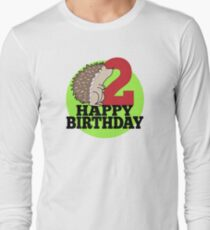 Cute Hedgehog Forest Animal Kids 2nd Birthday Party Long Sleeve T Shirt