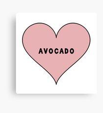 I Love Avocado Heart Canvas Print