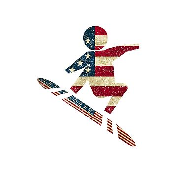 Vintage USA Snowboarding American Flag Classic by OsoCrazyTees