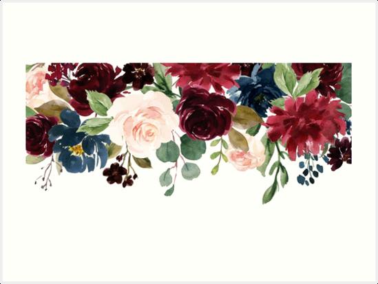 Quot Burgundy Blue Watercolor Flowers Border Quot Art Prints By