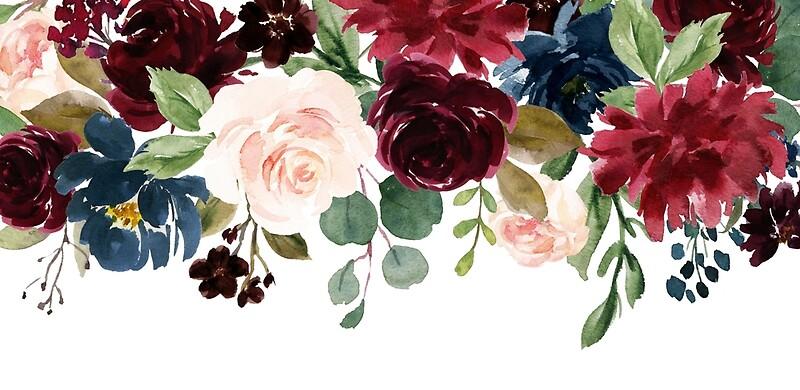 Burgundy Blue Watercolor Flowers Border Art Print