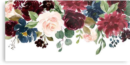 Burgundy Blue Watercolor Flowers Border By Junkydotcom