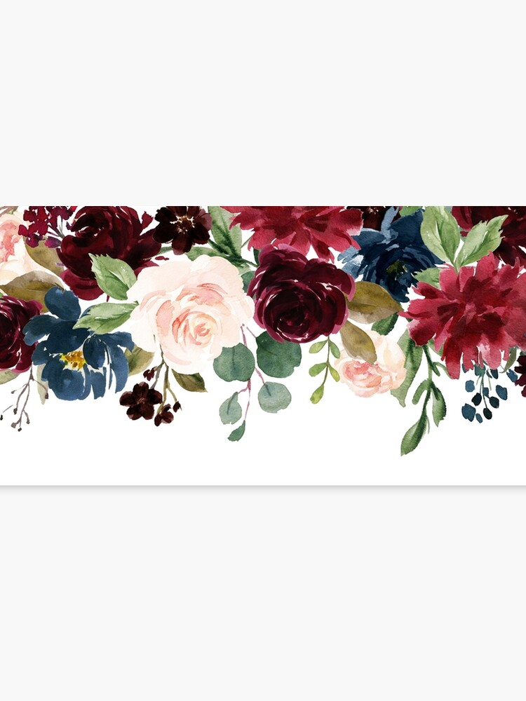 Burgundy Blue Watercolor Flowers Border Canvas Print