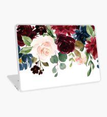 Burgundy Blue Watercolor Flowers Border Laptop Skin
