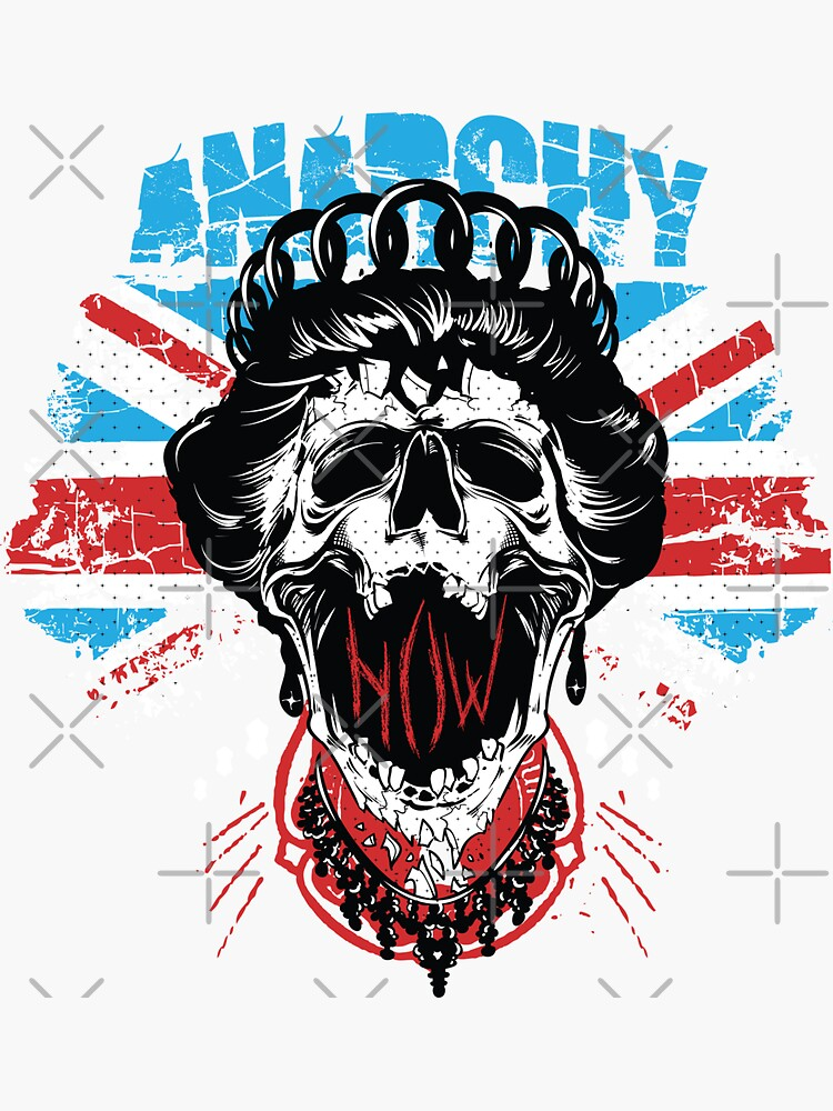Union Jack Flag Anarchy In The UK Queen Skull United Kingdom Retro Pride  by thespottydogg
