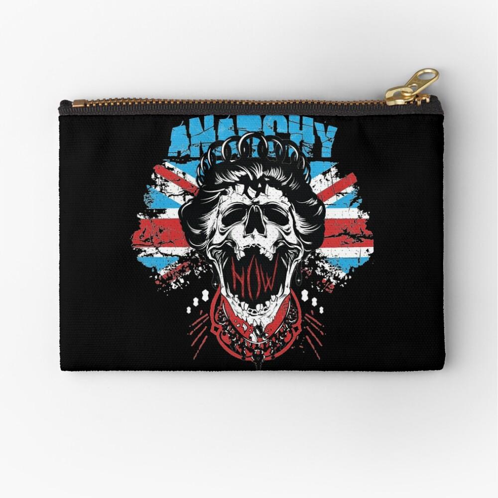 Union Jack Flag Anarchy In The UK Queen Skull United Kingdom Retro Pride  Zipper Pouch