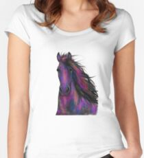 BLaCK FRieSiaN HoRSe ' ToMMY 2 ' by SHiRLeY MacARTHuR Women's Fitted Scoop T-Shirt