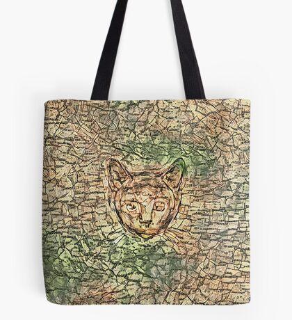 SPY cat HIDIN IN teh map Tote Bag