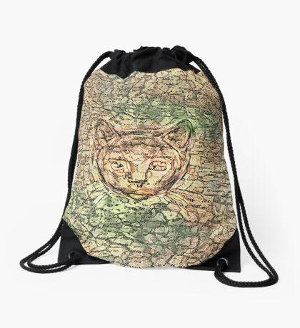 SPY cat HIDIN IN teh map Drawstring Bag