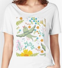 Spring birds and flowers Women's Relaxed Fit T-Shirt