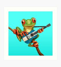 Tree Frog Playing Honduras Flag Guitar Art Print