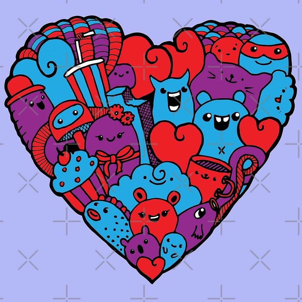 Heart doodle cute monsters by cucuvaya