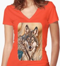 The Grey Timber Wolf Women's Fitted V-Neck T-Shirt