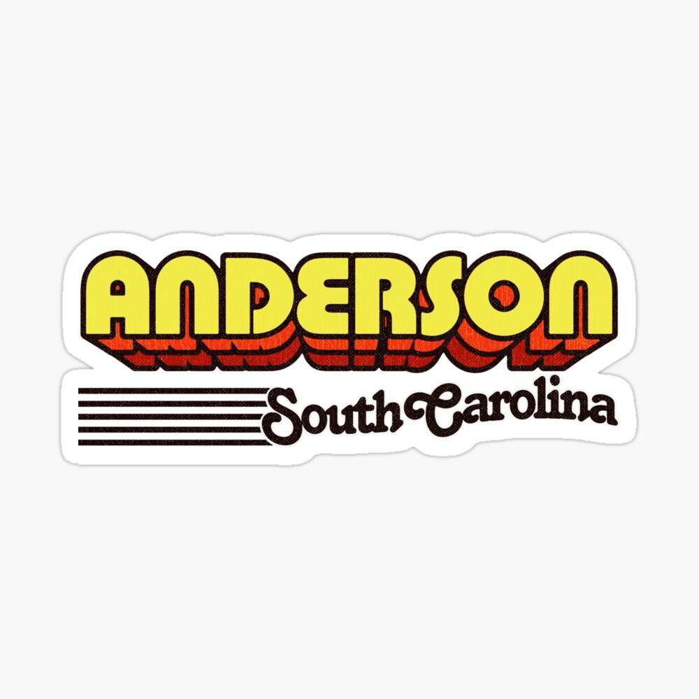 Anderson, South Carolina | Retro Stripes Sticker