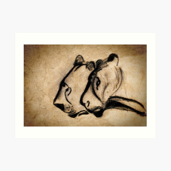 two chauvet cave lions Art Print